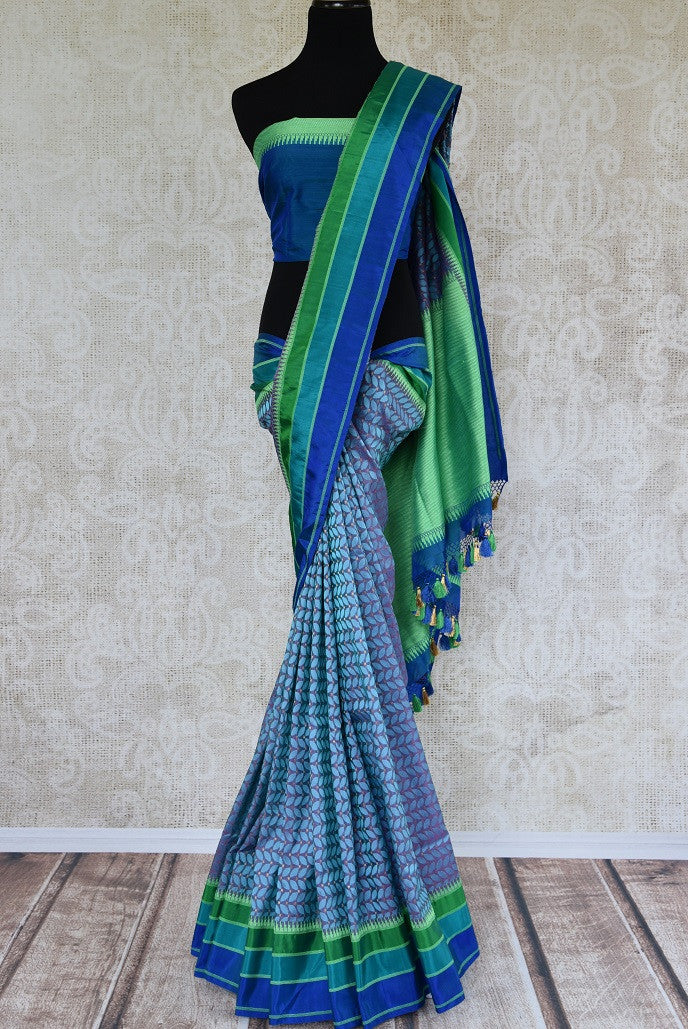 90C778 Benarasi Blue Saree With A Splash Of Green