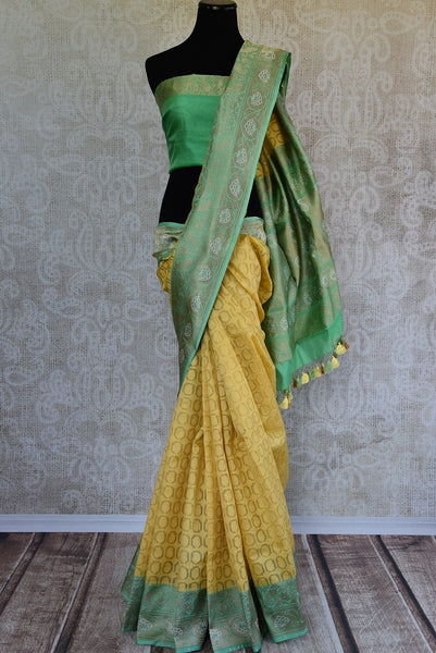 90C784 Lovely Yellow & Green Benarasi Saree