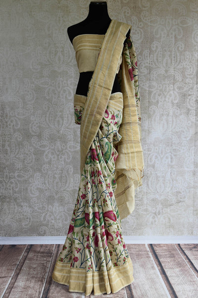 90C827 Off White Linen Saree With Multi Colored Print