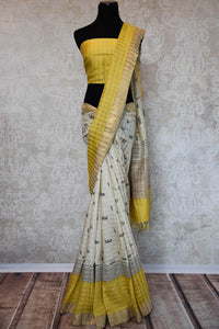90C837 Yellow & Off White Printed Linen Saree