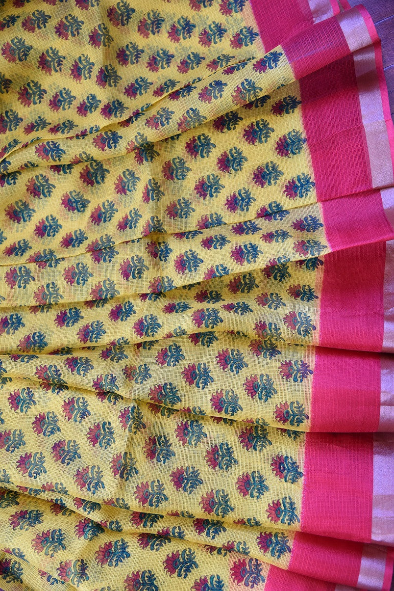 90C853 Yellow Printed Zari Kota Saree
