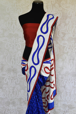 90C884 Red, White and Blue Silk Applique Saree