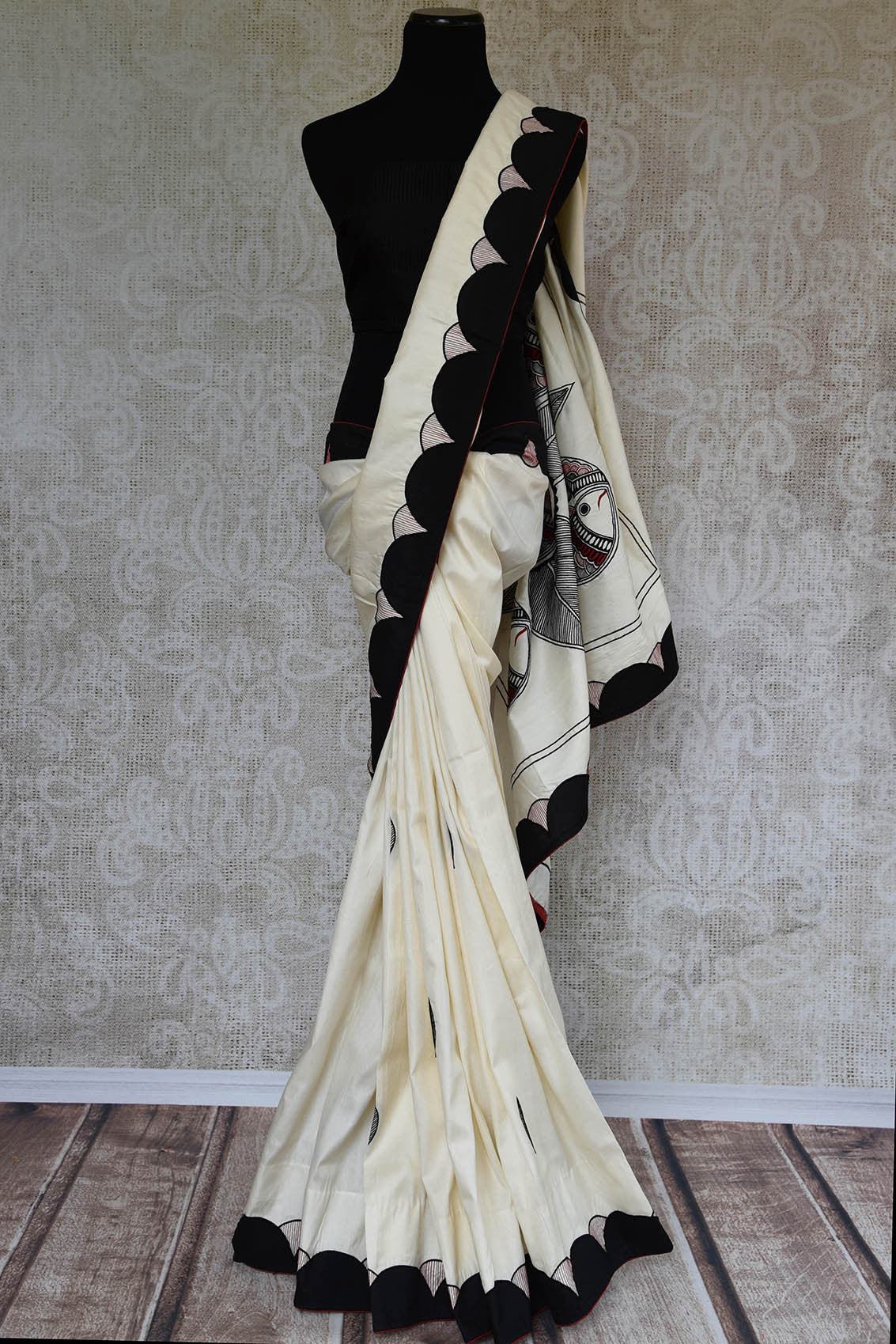 90C885 Black & White Silk Applique Saree With Madhubani Embroidery