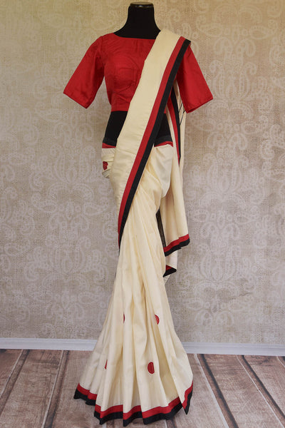 90C890 - Off White Silk Applique Saree With Red Blouse