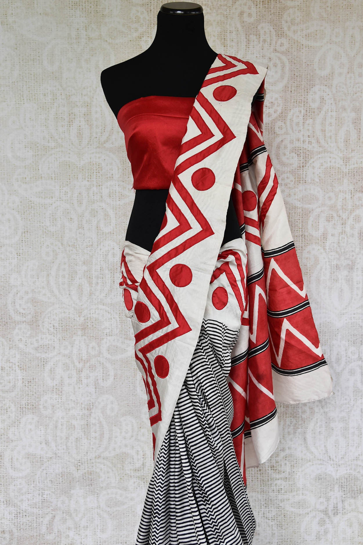 90C891 Black, White & Red Silk Applique Saree
