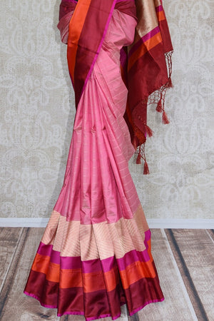 90C895 Red and Pink Benarasi Silk Saree