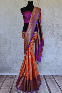 Shop ethnic orange muga silk sari online in USA at Pure Elegance. Browse through a range of beautiful Indian designer sarees in USA at our online store. Shop now.-full view