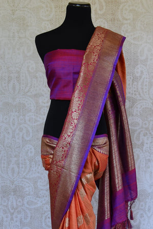 Shop ethnic orange muga silk sari online in USA at Pure Elegance. Browse through a range of beautiful Indian designer sarees in USA at our online store. Shop now.-blouse pallu
