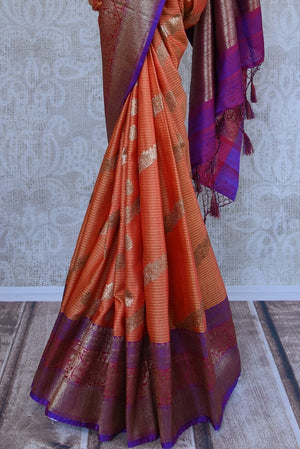 Shop ethnic orange muga silk sari online in USA at Pure Elegance. Browse through a range of beautiful Indian designer sarees in USA at our online store. Shop now.-pleats