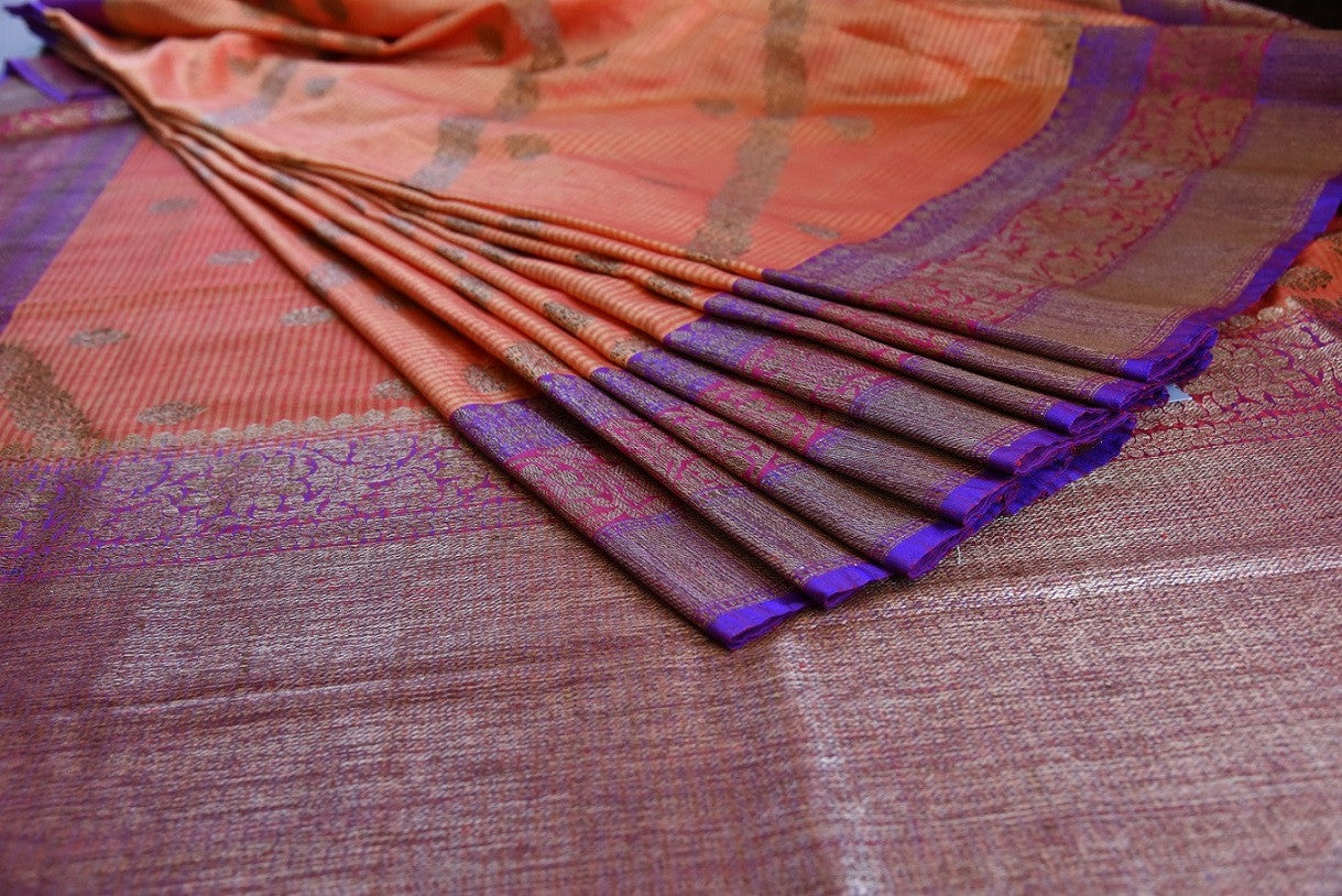 Shop ethnic orange muga silk sari online in USA at Pure Elegance. Browse through a range of beautiful Indian designer sarees in USA at our online store. Shop now.-details