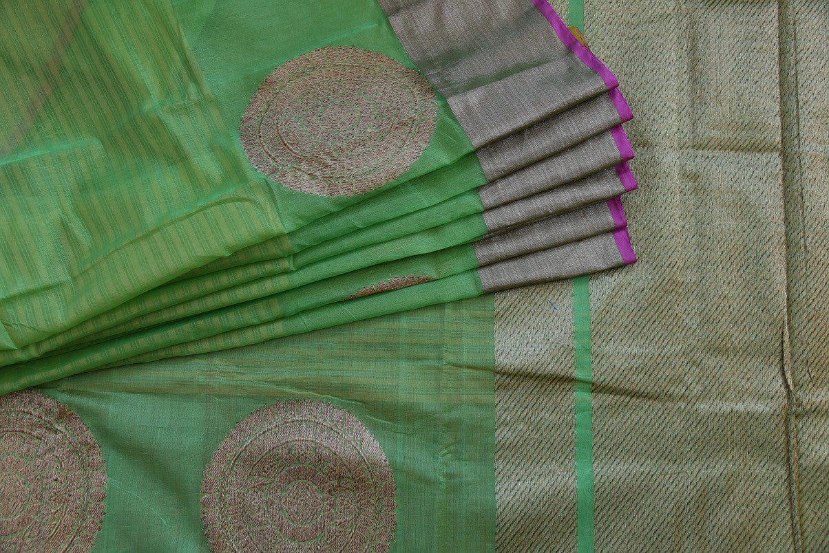 90C907 Green Chanderi Zari Weaved Saree with Purple Lining