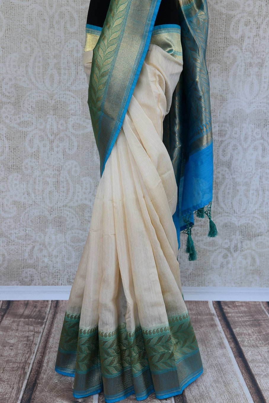 90C908 White Blue & Green Tussar Benarasi Saree