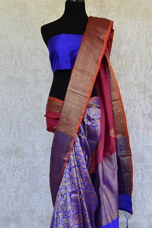 90C909 Multicolored Half Gicha Half Handloom Saree With Gold Design