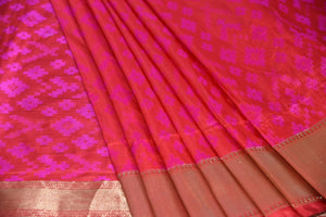 90C912 Gold, Pink, and Red Benarasi Silk Saree