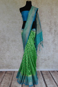 Light green muga silk saree for online shopping in USA. Pure Elegance clothing store brings an exquisite variety of beautiful Indian sarees in USA. Shop online.-full view