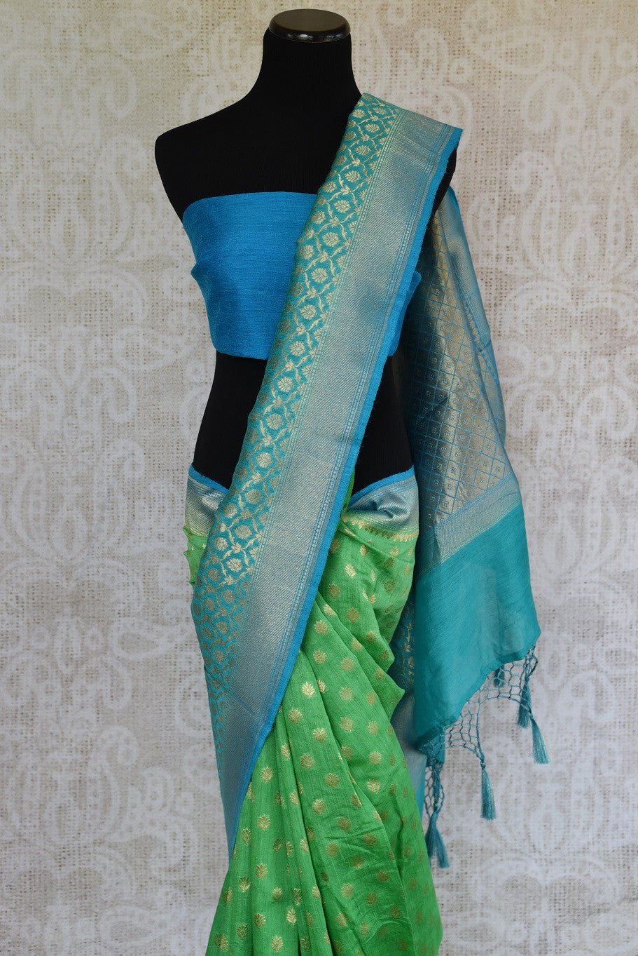 Light green muga silk saree for online shopping in USA. Pure Elegance clothing store brings an exquisite variety of beautiful Indian sarees in USA. Shop online.-blouse pallu