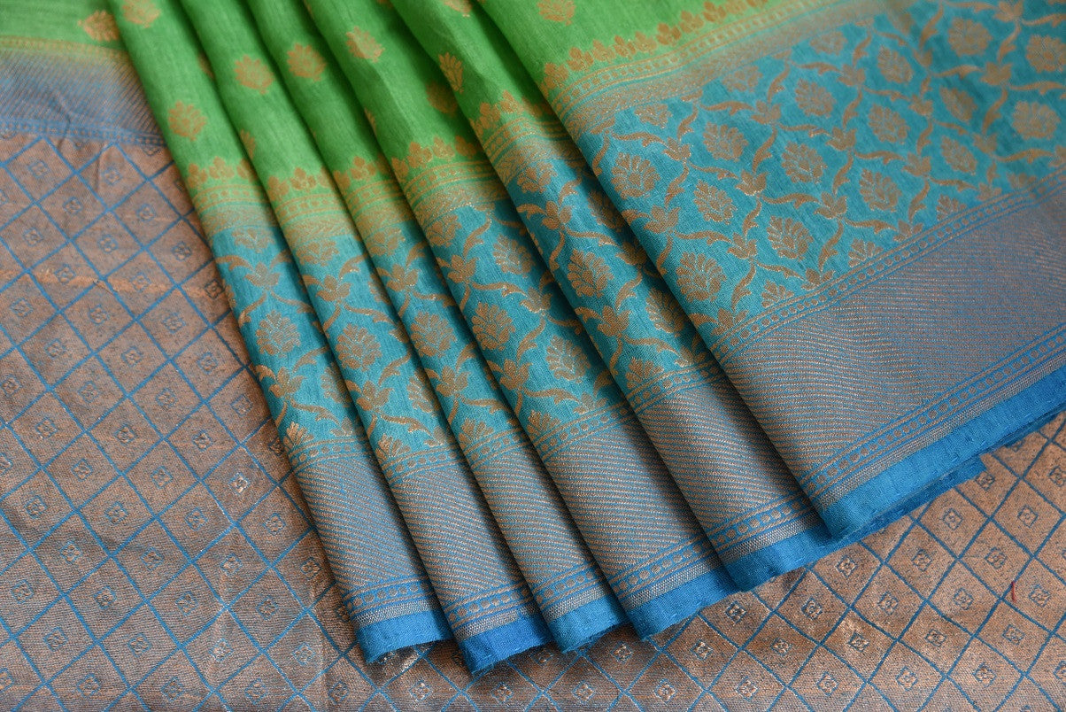Light green muga silk saree for online shopping in USA. Pure Elegance clothing store brings an exquisite variety of beautiful Indian sarees in USA. Shop online.-details
