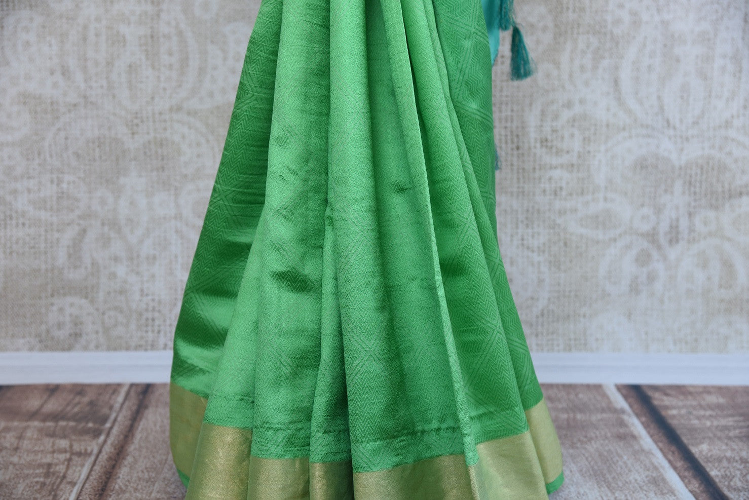 90C925 Green and Blue Silk Benarasi Saree