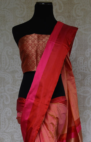 90C936 Red and Pink Silk Benarasi Saree