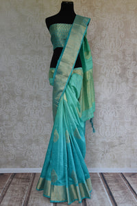 90C943 Green and Blue Gicha Benarasi Saree