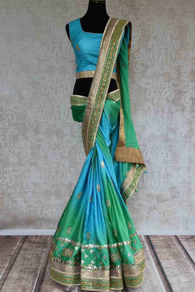 90C953 Blue & Green Georgette Saree With Gota Patti Work