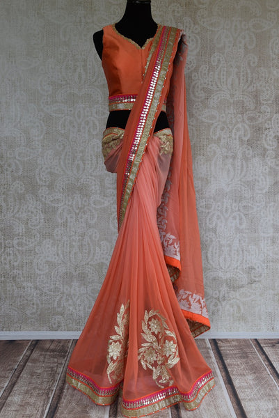 90C956 Shaded Peach & Orange Georgette Saree With Gota Patti Work