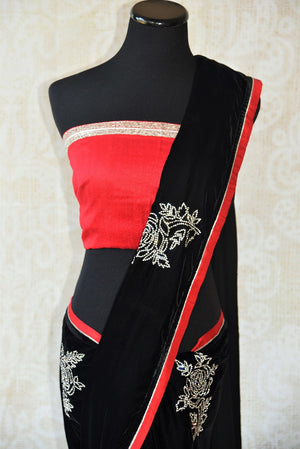 Black embroidered velvet saree with raw silk red and gold trim border.Perfect party saree for Indian evening parties.-pallu