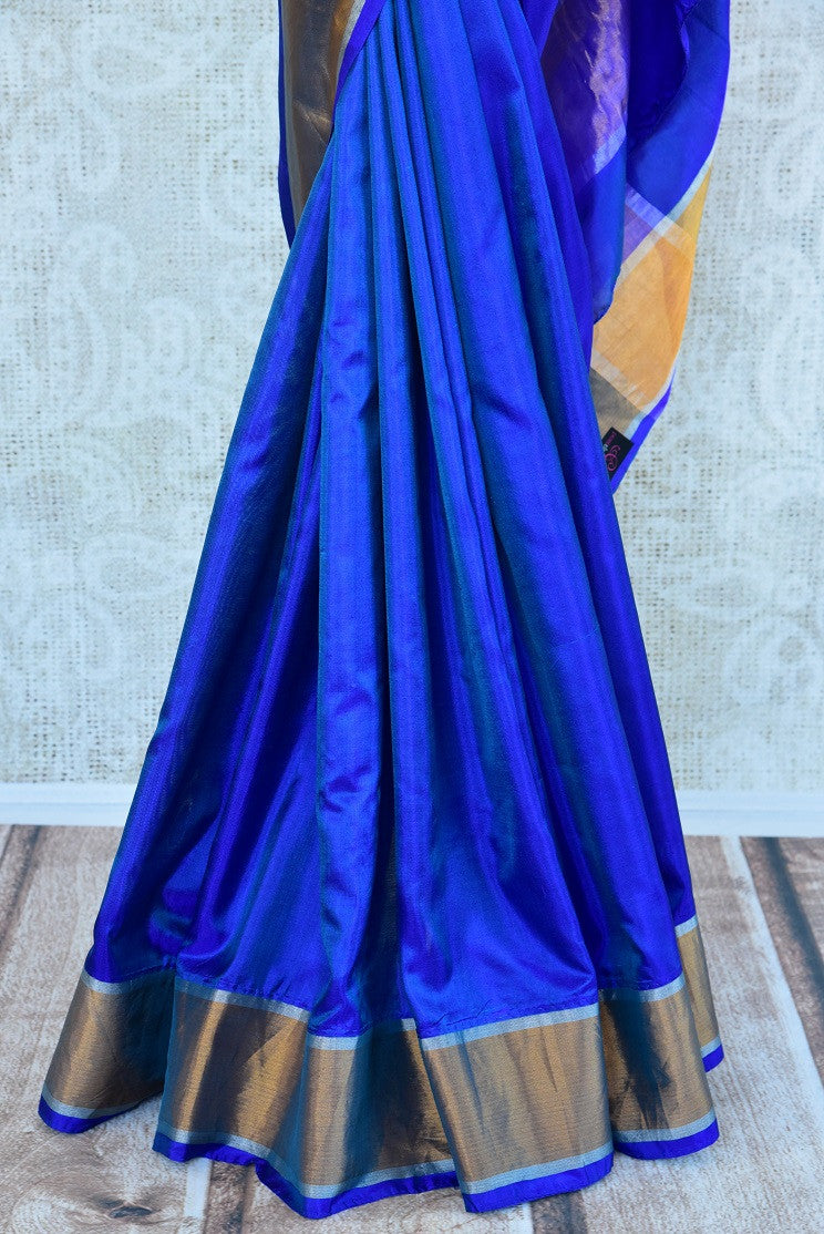 90C964 Bright Blue Mulberry Silk Saree