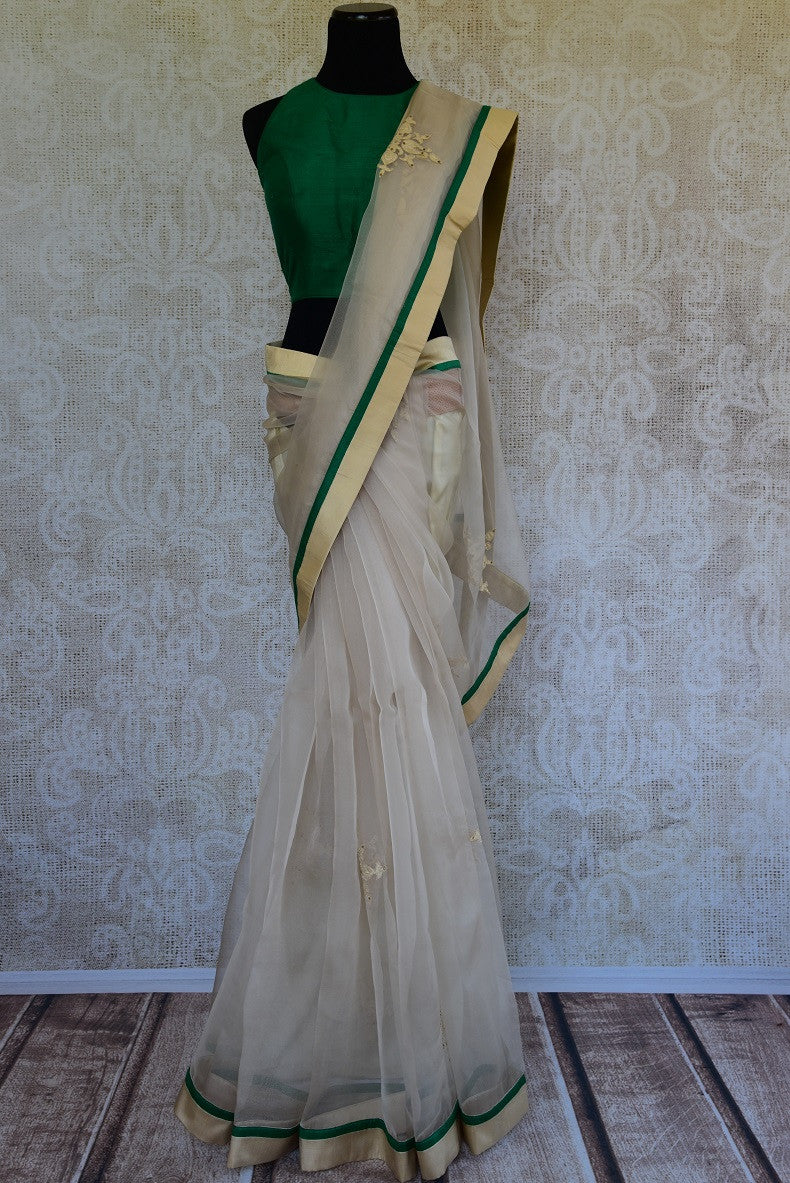 90C965 White & Green Organza Saree With Embroidery