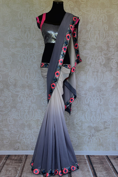 90C966 Shaded White & Grey Georgette Saree With Ticki Work