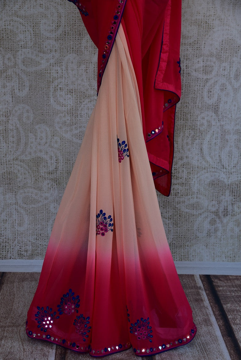 90C967 Peach & Pink Georgette Saree With Mirror Work & Pre-Stitched Blouse