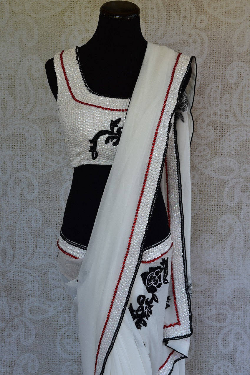 90C969 White Georgette Saree With Ticky Work & Pre Stitched Blouse