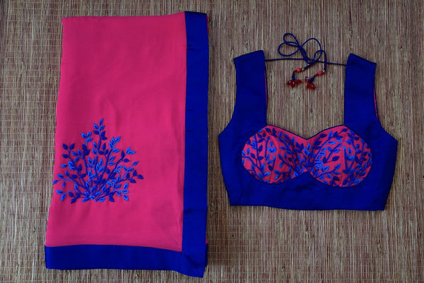 90C970 Pink & Blue Georgette Saree With Pre-Stitched Blouse