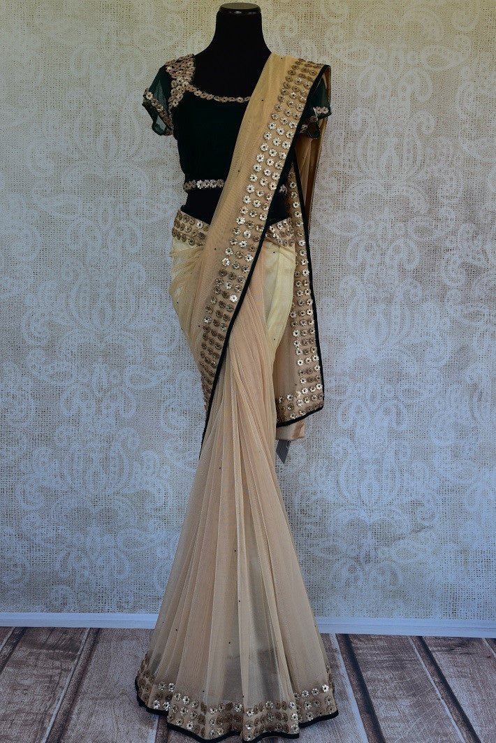 90C973 Beige Net Saree With Pre-Stitched Blouse