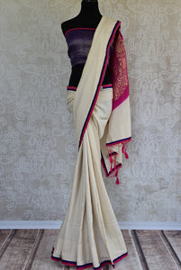 90C978 Purple, Pink, and White Tussar Georgette Benarasi Saree