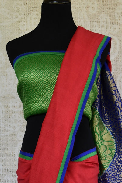 90C979 Green, Red, and Blue Tussar Georgette Benarasi Saree
