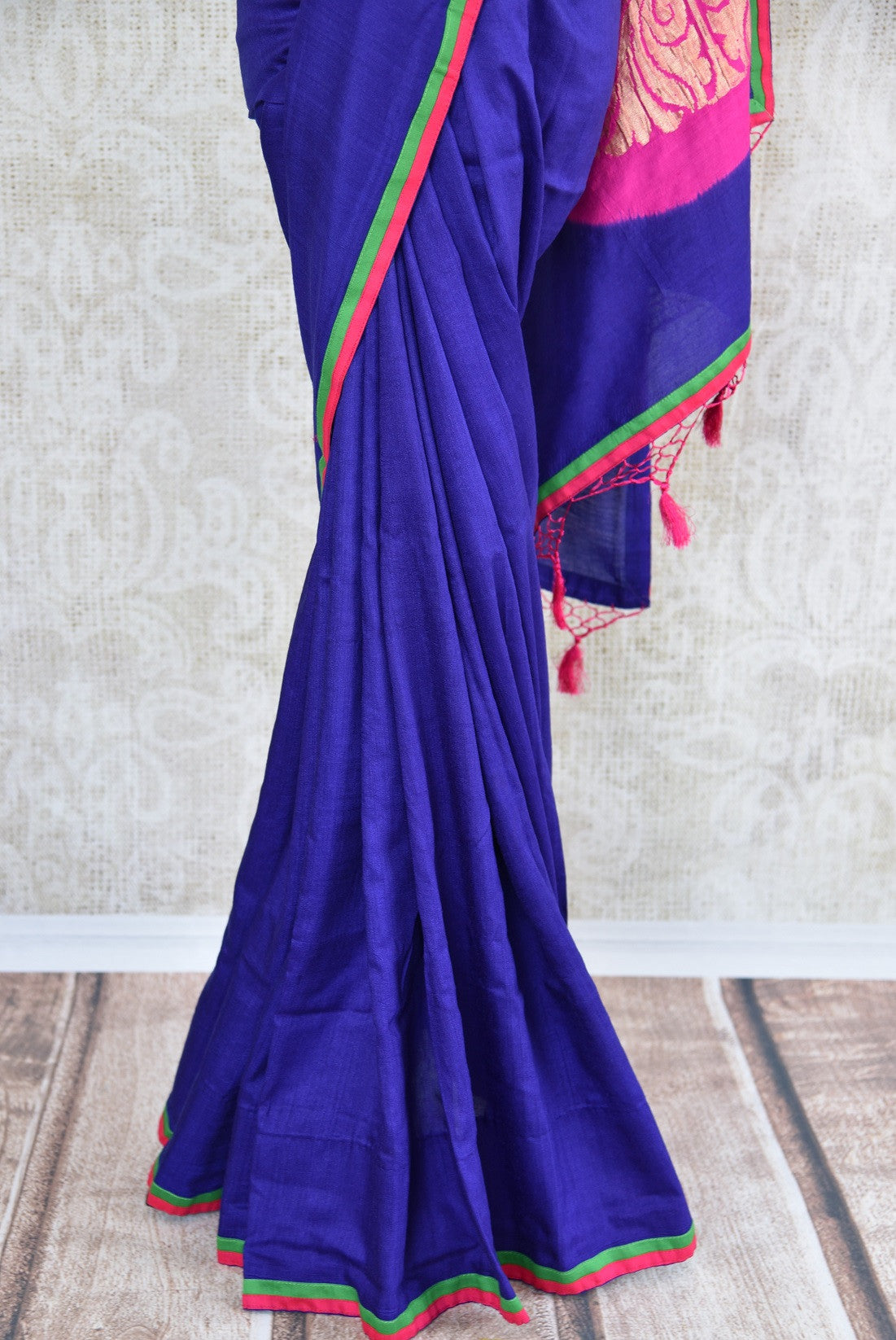 90C980 Green and Violet Tussar Georgette Benarasi Saree