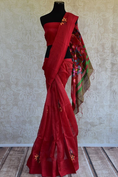 90C983 Red Matka Silk Saree With Full Jhal Pallu