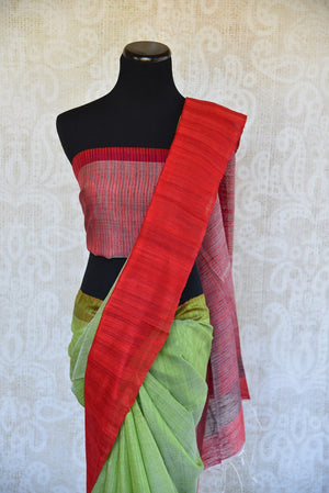 Matka silk saree in pista green and red color. Perfect saree for casual Indian gatherings and pujas.-pallu