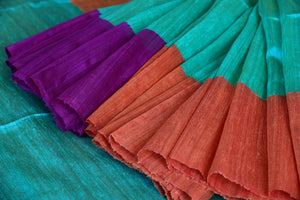 90C994 Green Matka Silk Saree With Pops Of Orange & Purple