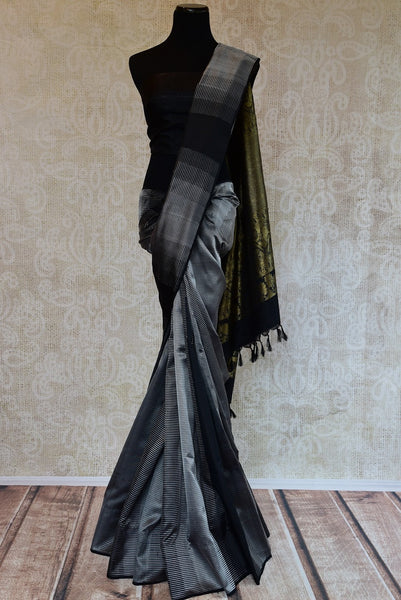 90D003 Black & Grey Kanchivaram Saree