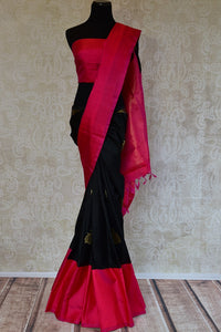 Kanchivaram silk black and pink saree. Traditional saree perfect for Indian wedding functions and gatherings.-Full view