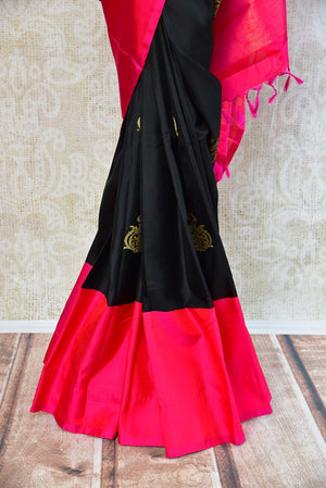 Kanchivaram silk black and pink saree. Traditional saree perfect for Indian wedding functions and gatherings.-pleats