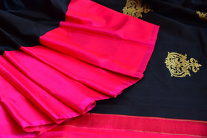 Kanchivaram silk black and pink saree. Traditional saree perfect for Indian wedding functions and gatherings.-close up buta