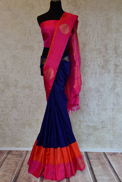 Kanchivaram silk blue saree with pink and orange classic border and pallu. Perfect sari for Indian wedding functions and gatherings.-Full view