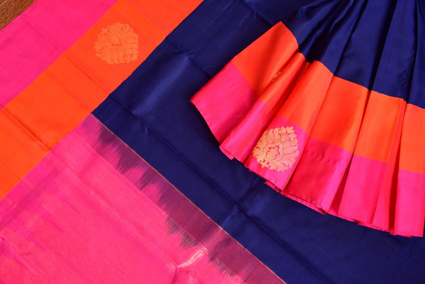 Kanchivaram silk blue saree with pink and orange classic border and pallu. Perfect sari for Indian wedding functions and gatherings.-close up