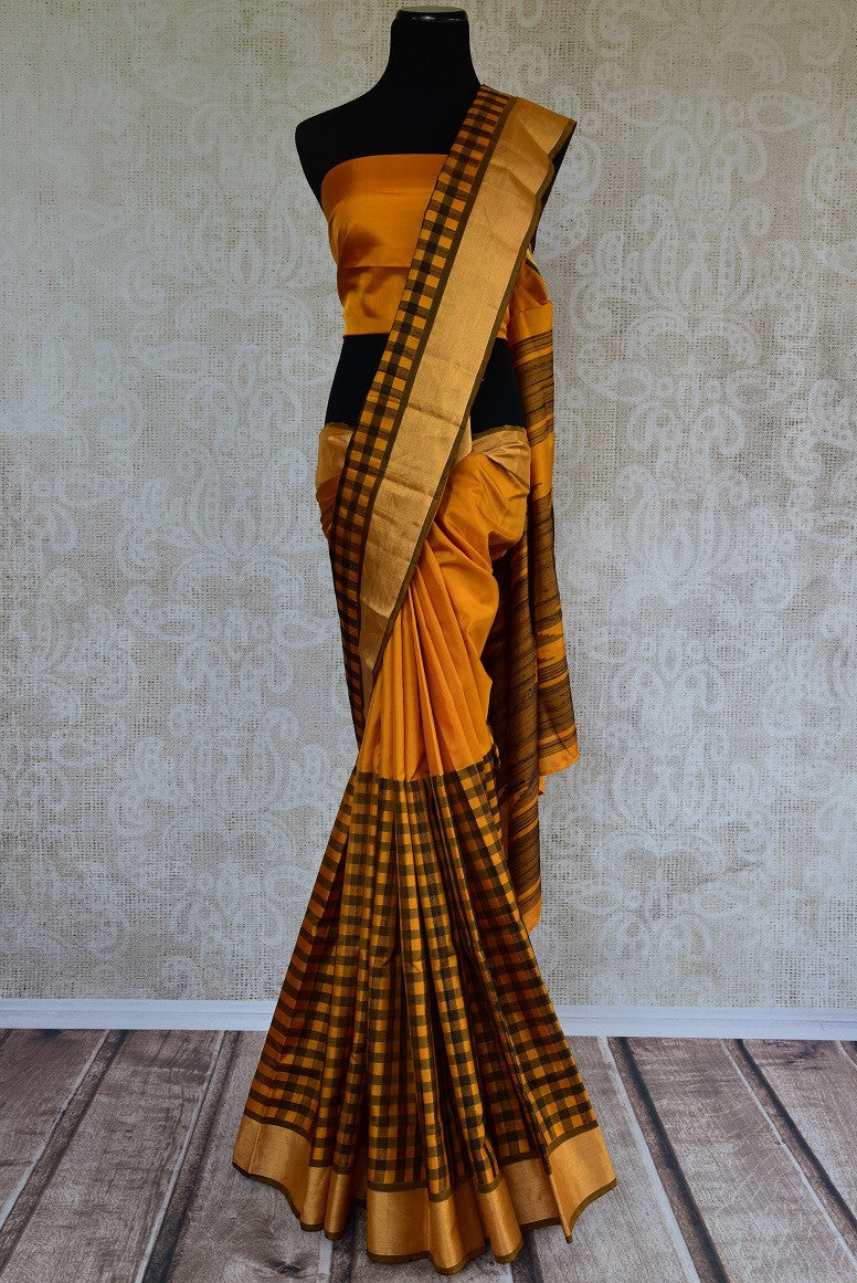 90D008 Yellow Kanchivaram Silk Saree With Black Checks