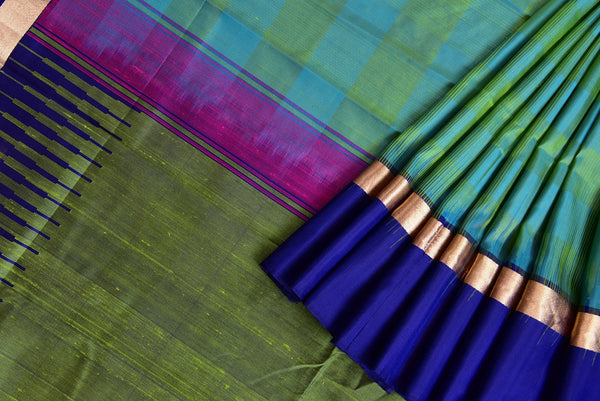 90D014 Green & Blue Kanchivaram Silk Saree