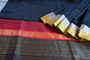 90D015 Black Raw Silk Zari Saree