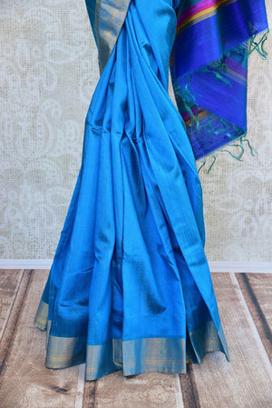 90D017 Blue Raw Silk Zari Saree With Pop Of Multi Color
